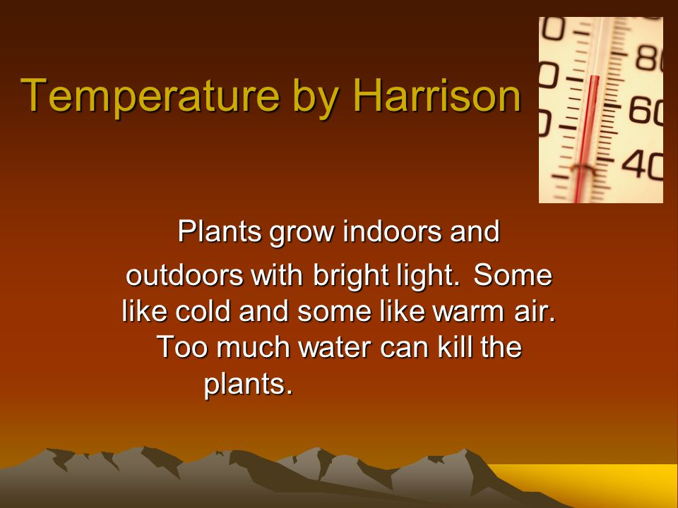 Temperature by Harrison Plants grow indoors and outdoors with bright light.