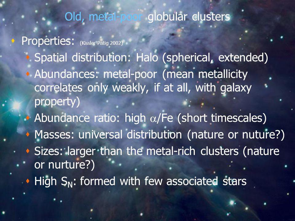 Old, metal-poor globular clusters  Properties: (Kissler-Patig 2002)  Spatial distribution: Halo (spherical, extended)  Abundances: metal-poor (mean