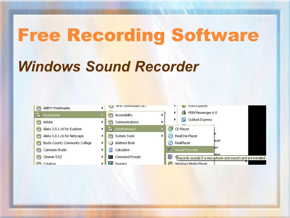 Free Recording Software Windows Sound Recorder