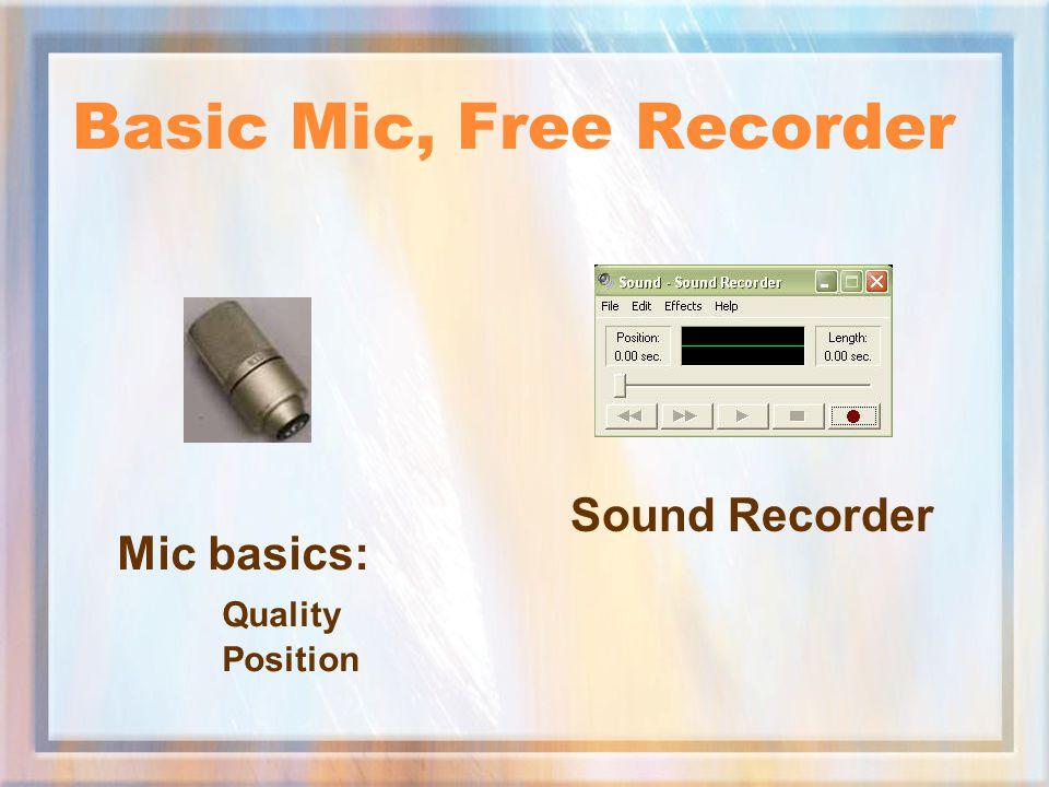 Basic Mic, Free Recorder Sound Recorder Mic basics: Quality Position
