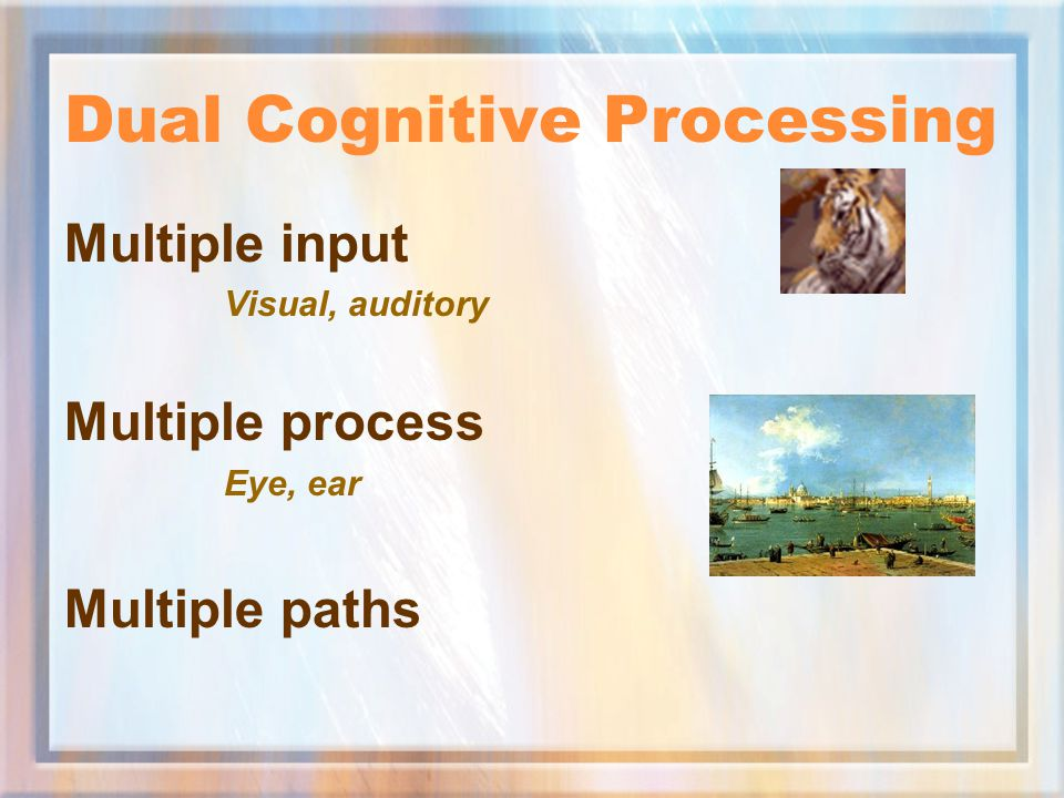 Dual Process Learning Single Memory Process Visual working memory (Animation and text) Dual Memory Process Visual plus auditory memory (Animation, text, and sound ) Result: Out-Performance Retention, recognition, transfer