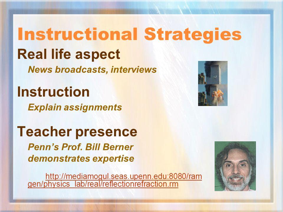 Instructional Strategies Real life aspect News broadcasts, interviews Instruction Explain assignments Teacher presence Penn's Prof. Bill Berner demons
