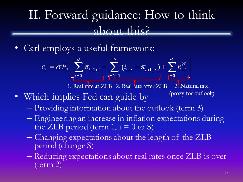 II. Forward guidance: How to think about this? Carl employs a useful framework: Which implies Fed can guide by – Providing information about the outlo