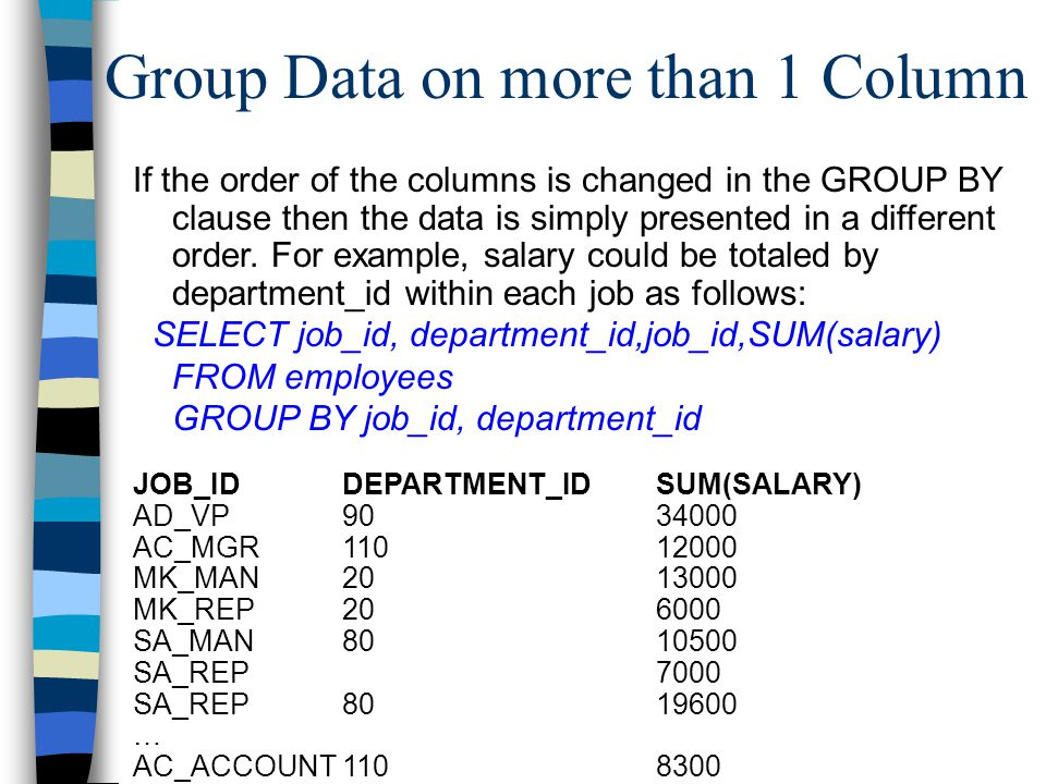 Group Data on more than 1 Column If the order of the columns is changed in the GROUP BY clause then the data is simply presented in a different order.