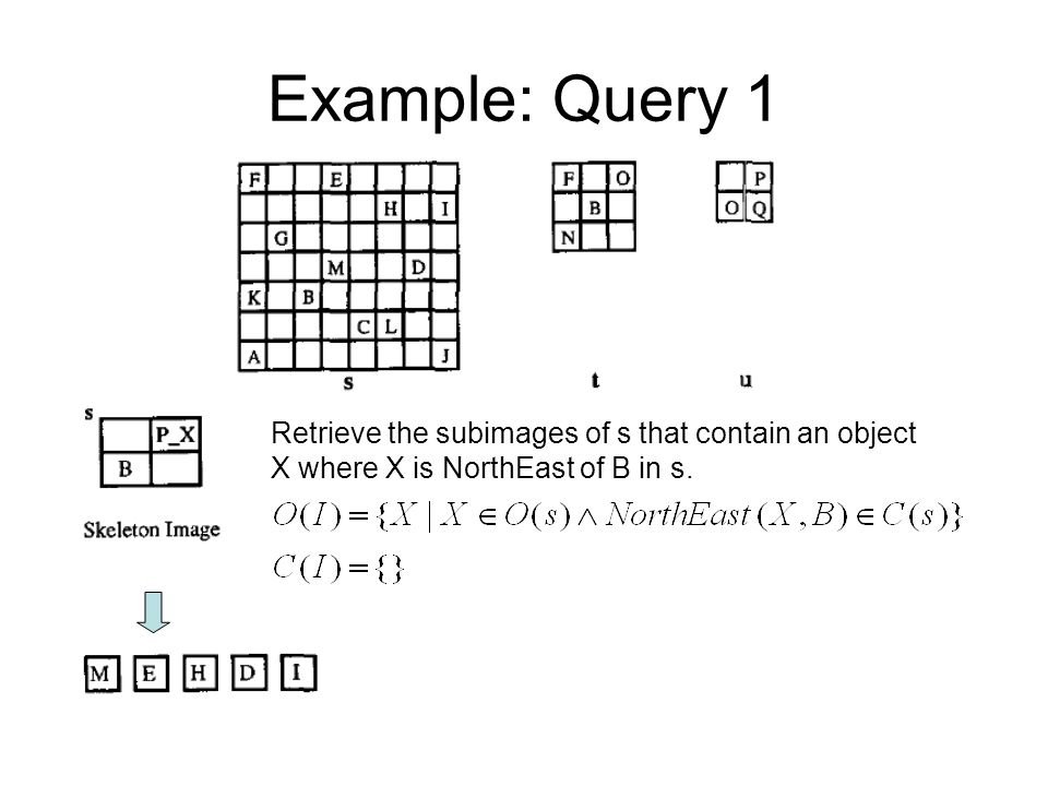 Example: Query 1 Retrieve the subimages of s that contain an object X where X is NorthEast of B in s.