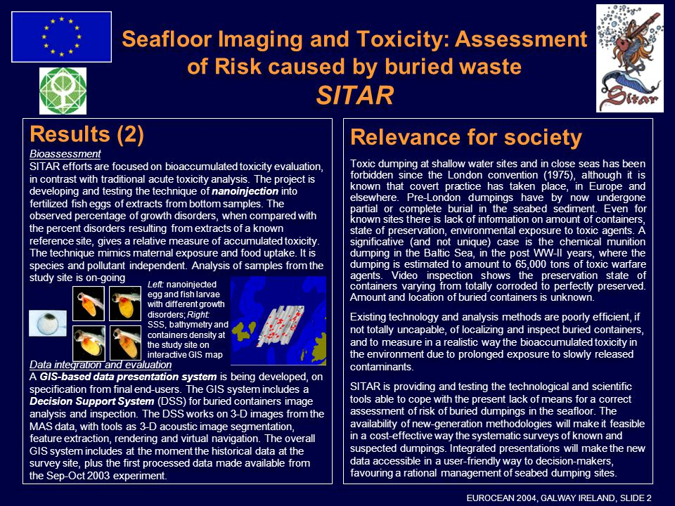 Seafloor Imaging and Toxicity: Assessment of Risk caused by buried waste SITAR Relevance for society Toxic dumping at shallow water sites and in close seas has been forbidden since the London convention (1975), although it is known that covert practice has taken place, in Europe and elsewhere.