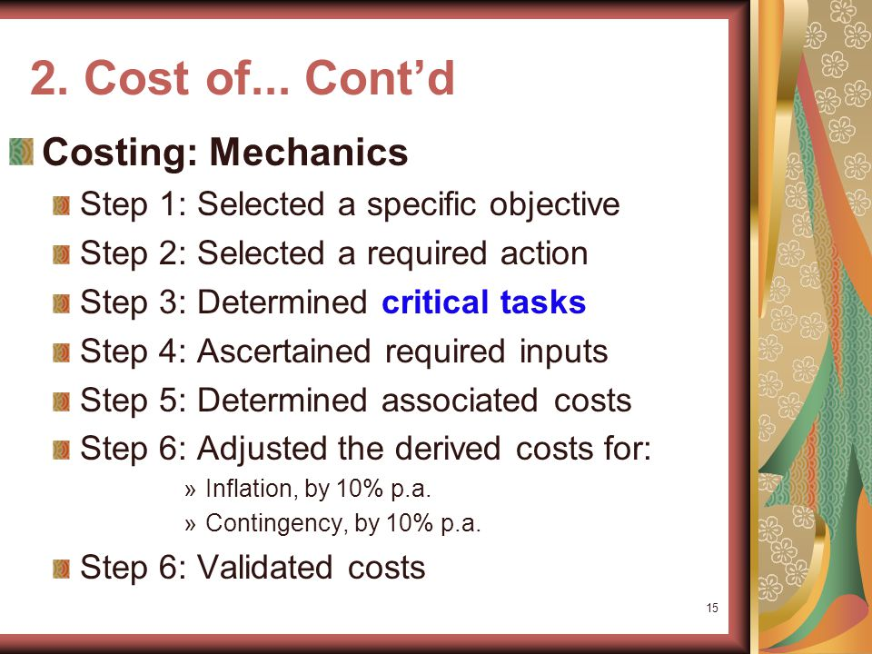 2. Cost of...