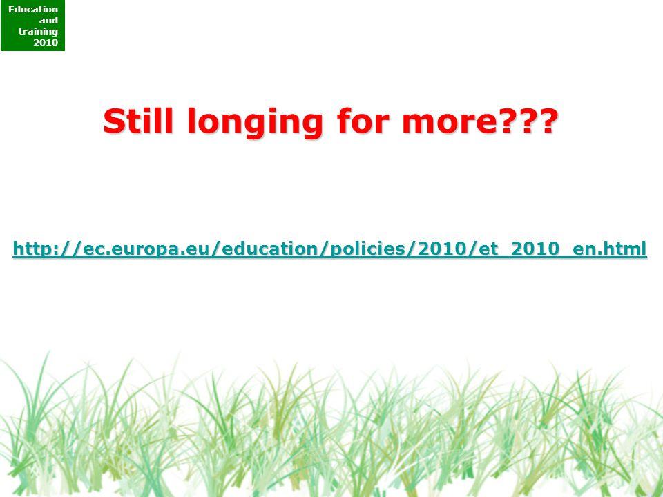Education and training 2010 http://ec.europa.eu/education/policies/2010/et_2010_en.html Still longing for more???