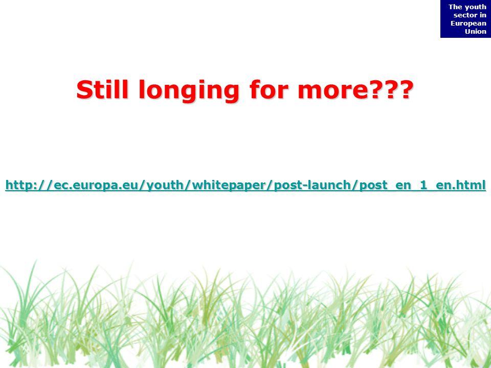 http://ec.europa.eu/youth/whitepaper/post-launch/post_en_1_en.html The youth sector in European Union Still longing for more???