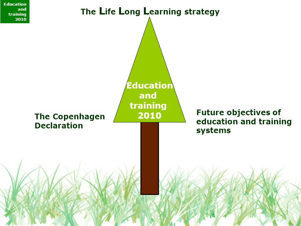 The L ife L ong L earning strategy The Copenhagen Declaration Future objectives of education and training systems Education and training 2010 Education and training 2010