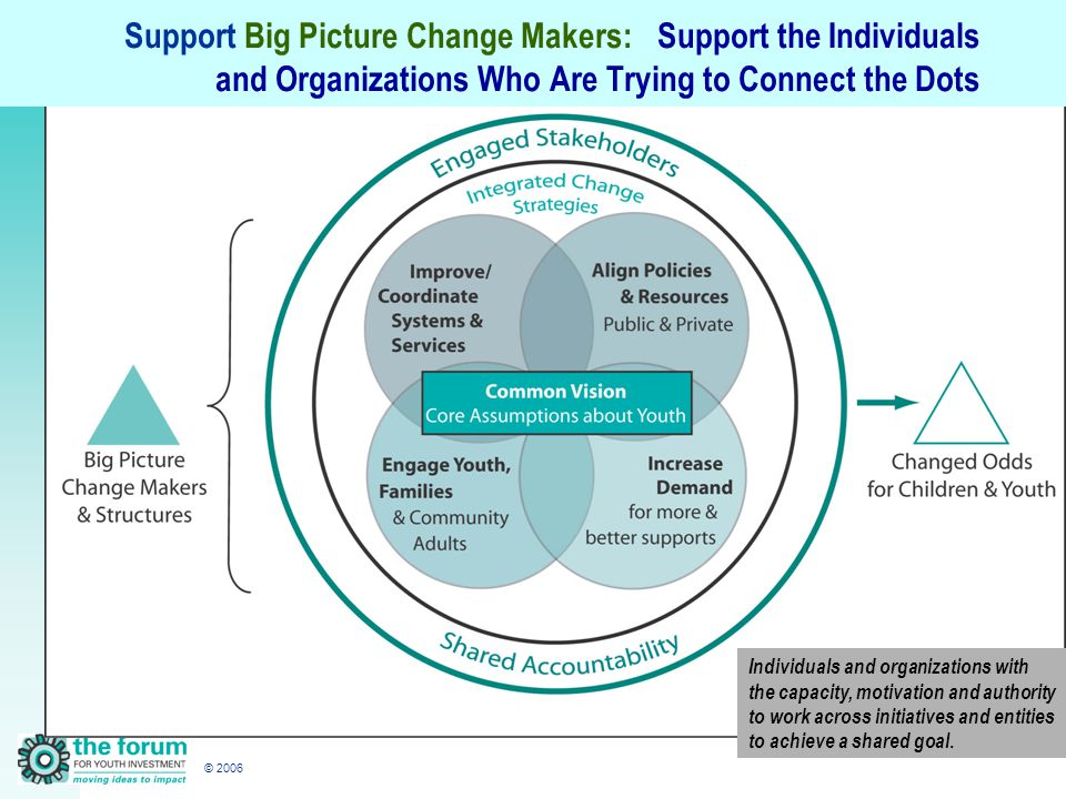 © 2006 Support Big Picture Change Makers:Support the Individuals and Organizations Who Are Trying to Connect the Dots Individuals and organizations with the capacity, motivation and authority to work across initiatives and entities to achieve a shared goal.