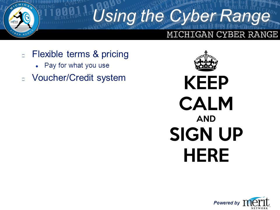 Powered by l Flexible terms & pricing l Pay for what you use l Voucher/Credit system Using the Cyber Range