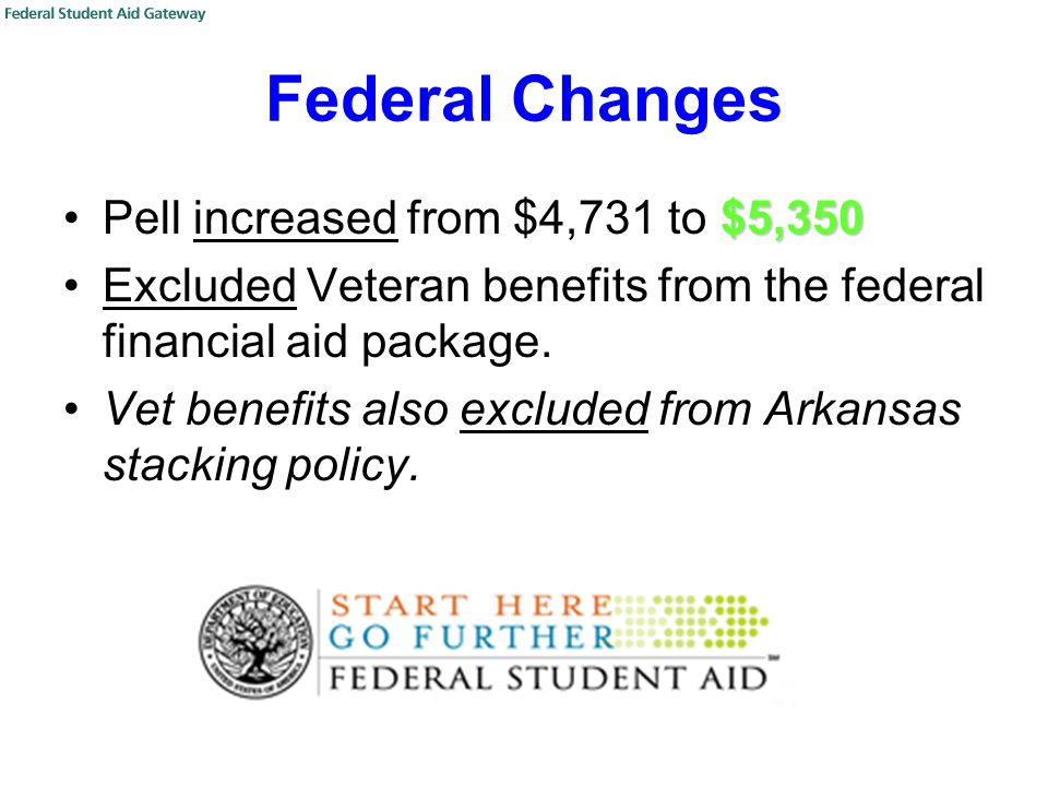 Federal Changes $5,350Pell increased from $4,731 to $5,350 Excluded Veteran benefits from the federal financial aid package.