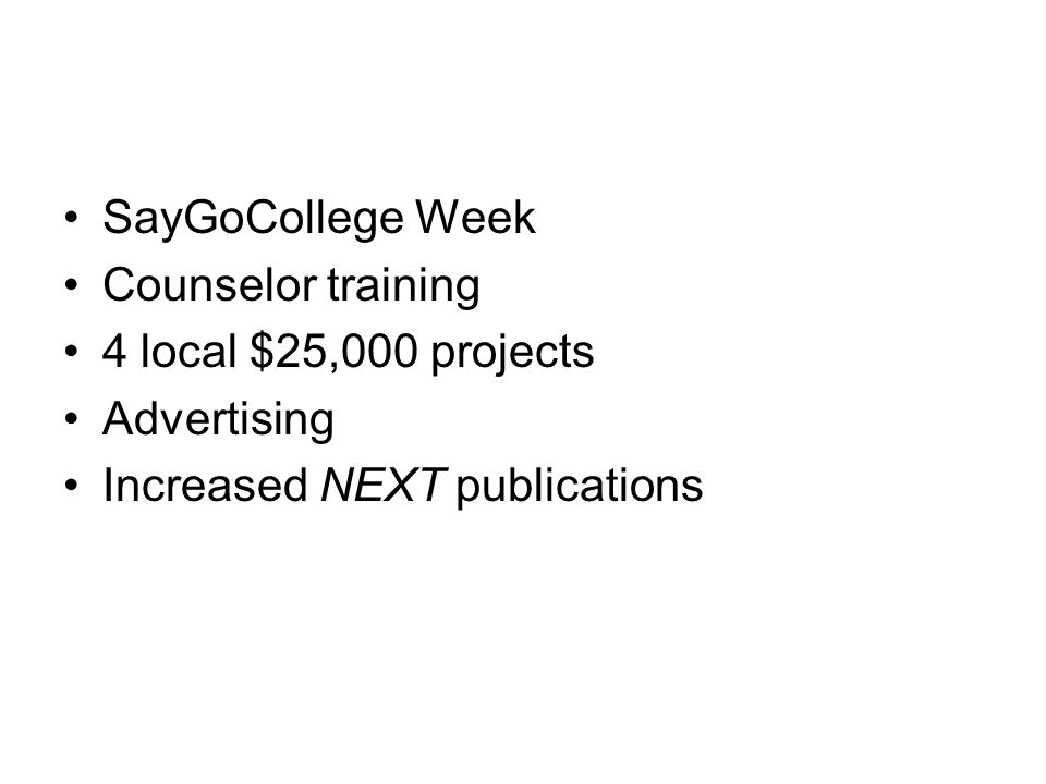 SayGoCollege Week Counselor training 4 local $25,000 projects Advertising Increased NEXT publications