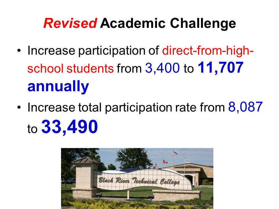 Increase participation of direct-from-high- school students from 3,400 to 11,707 annually Increase total participation rate from 8,087 to 33,490 Revised Academic Challenge