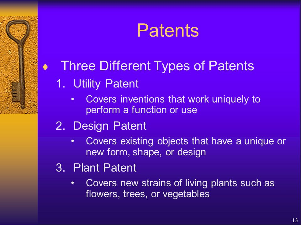 13 Patents  Three Different Types of Patents 1.Utility Patent Covers inventions that work uniquely to perform a function or use 2.Design Patent Covers existing objects that have a unique or new form, shape, or design 3.Plant Patent Covers new strains of living plants such as flowers, trees, or vegetables