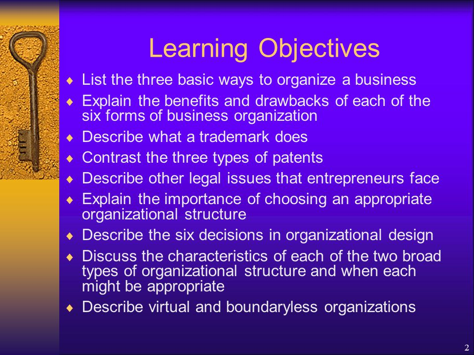 2 Learning Objectives  List the three basic ways to organize a business  Explain the benefits and drawbacks of each of the six forms of business organization  Describe what a trademark does  Contrast the three types of patents  Describe other legal issues that entrepreneurs face  Explain the importance of choosing an appropriate organizational structure  Describe the six decisions in organizational design  Discuss the characteristics of each of the two broad types of organizational structure and when each might be appropriate  Describe virtual and boundaryless organizations