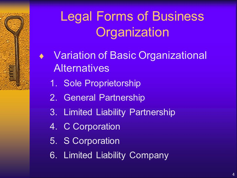 4 Legal Forms of Business Organization  Variation of Basic Organizational Alternatives 1.Sole Proprietorship 2.General Partnership 3.Limited Liability Partnership 4.C Corporation 5.S Corporation 6.Limited Liability Company