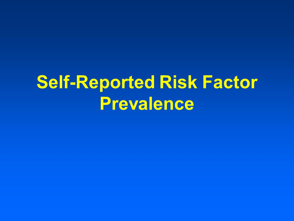 Self-Reported Risk Factor Prevalence