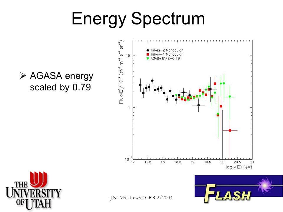 J.N. Matthews, ICRR 2/2004 Energy Spectrum  AGASA energy scaled by 0.79