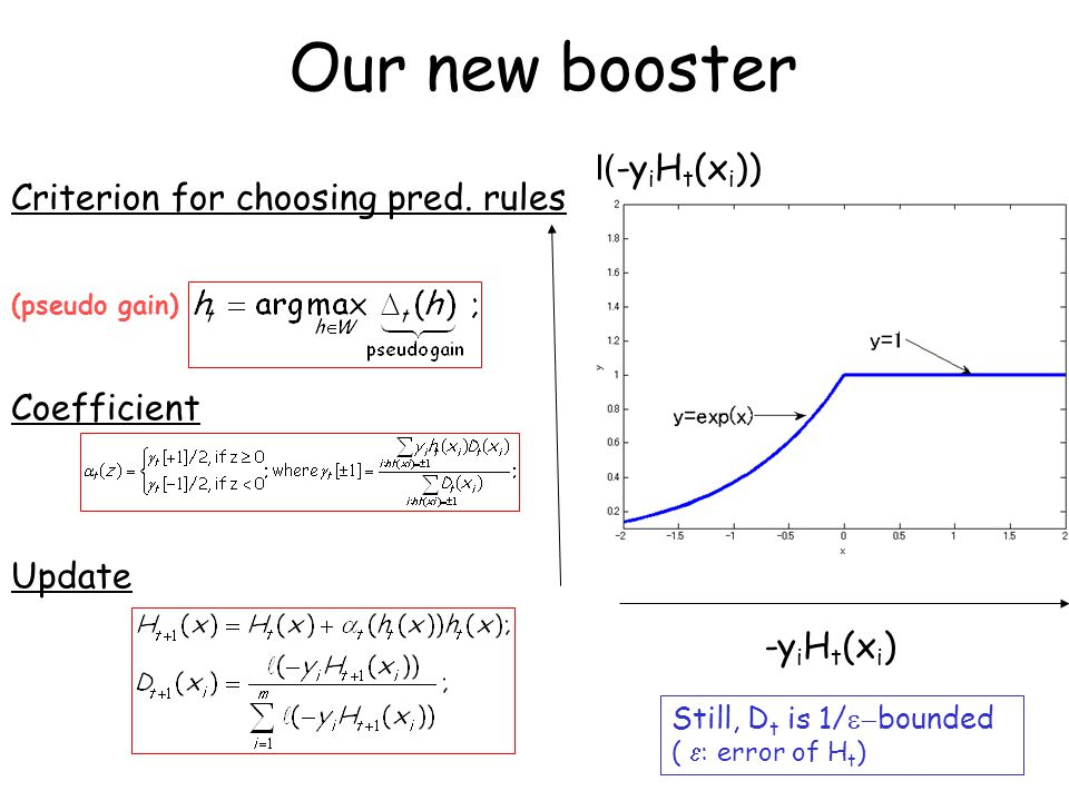 Our new booster -y i H t (x i ) Criterion for choosing pred.