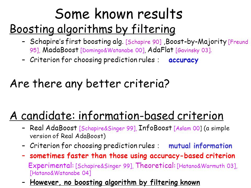 Some known results Boosting algorithms by filtering –Schapire's first boosting alg.