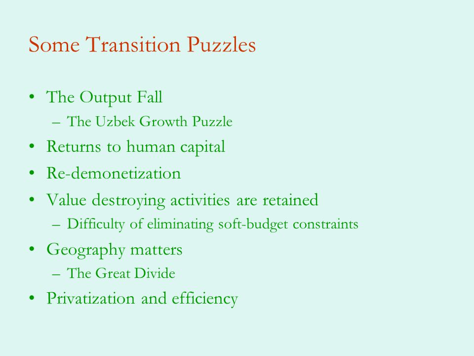Some Transition Puzzles The Output Fall –The Uzbek Growth Puzzle Returns to human capital Re-demonetization Value destroying activities are retained –Difficulty of eliminating soft-budget constraints Geography matters –The Great Divide Privatization and efficiency