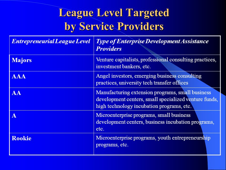 League Level Targeted by Service Providers Entrepreneurial League LevelType of Enterprise Development Assistance Providers Majors Venture capitalists, professional consulting practices, investment bankers, etc.