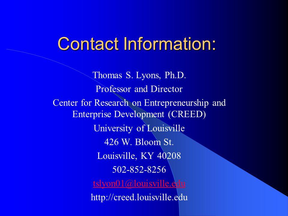 Contact Information: Thomas S. Lyons, Ph.D.