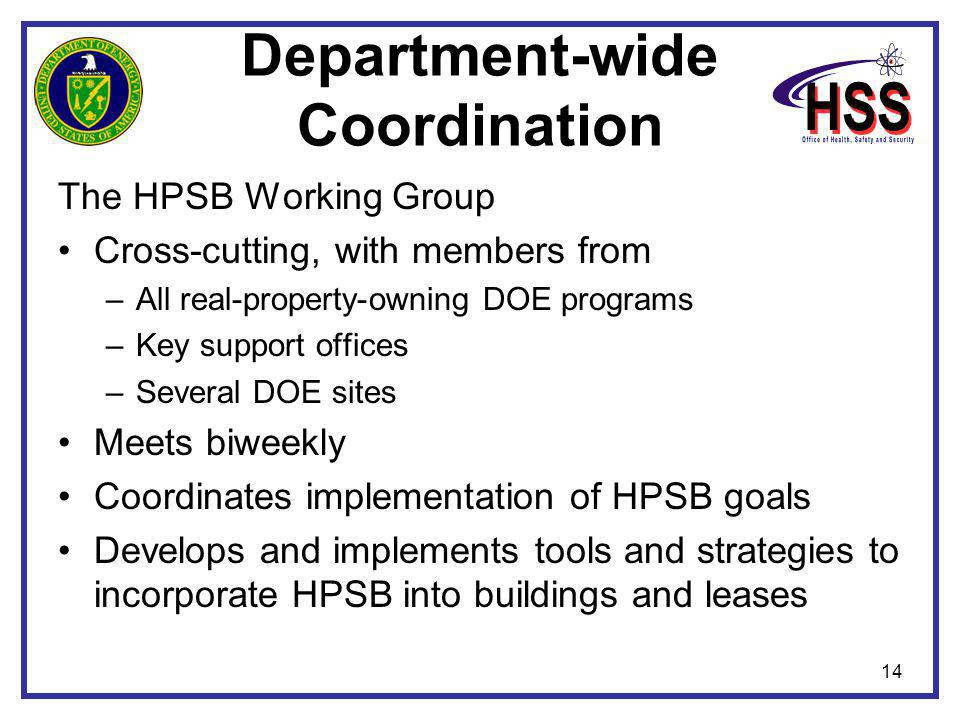 14 Department-wide Coordination The HPSB Working Group Cross-cutting, with members from –All real-property-owning DOE programs –Key support offices –Several DOE sites Meets biweekly Coordinates implementation of HPSB goals Develops and implements tools and strategies to incorporate HPSB into buildings and leases