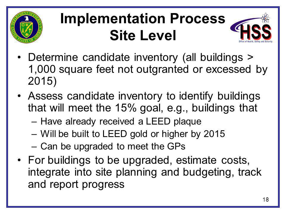 18 Implementation Process Site Level Determine candidate inventory (all buildings > 1,000 square feet not outgranted or excessed by 2015) Assess candi