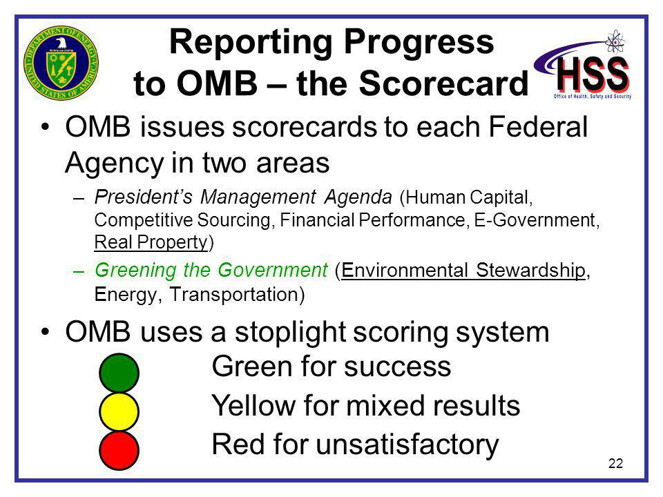 22 Reporting Progress to OMB – the Scorecard OMB issues scorecards to each Federal Agency in two areas –President's Management Agenda (Human Capital,