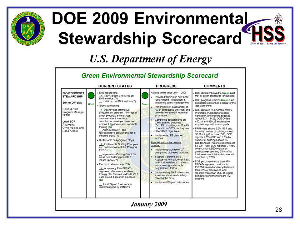 28 DOE 2009 Environmental Stewardship Scorecard