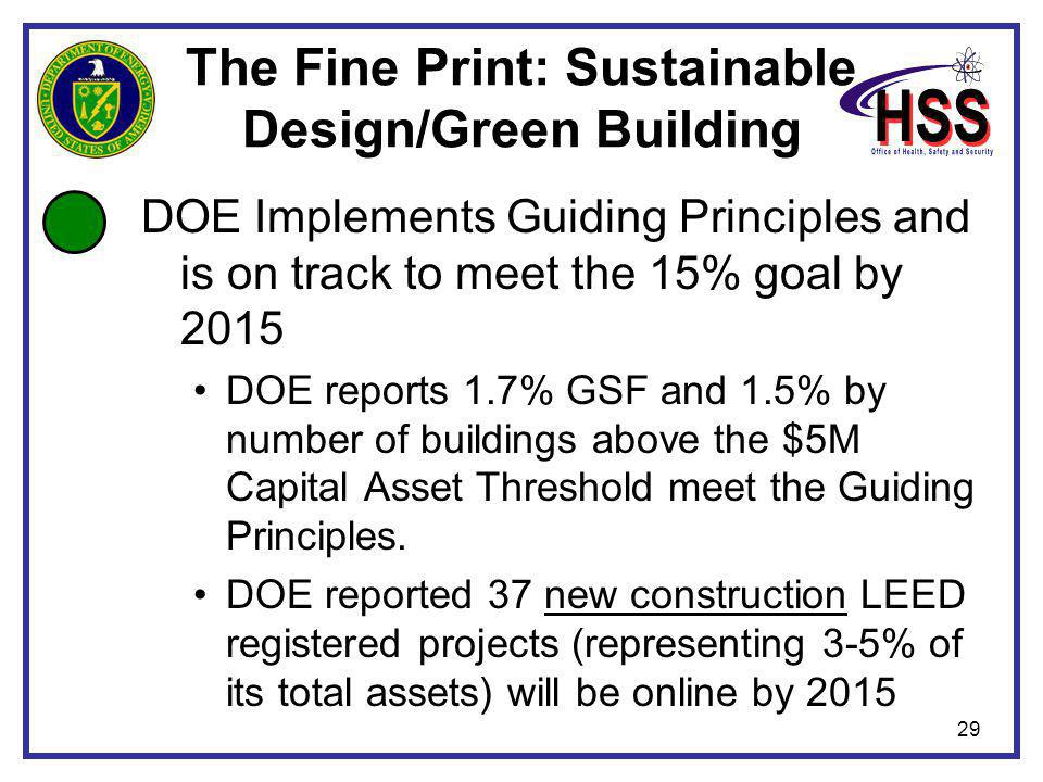 29 The Fine Print: Sustainable Design/Green Building DOE Implements Guiding Principles and is on track to meet the 15% goal by 2015 DOE reports 1.7% GSF and 1.5% by number of buildings above the $5M Capital Asset Threshold meet the Guiding Principles.