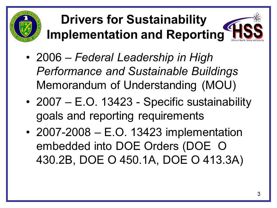 3 Drivers for Sustainability Implementation and Reporting 2006 – Federal Leadership in High Performance and Sustainable Buildings Memorandum of Unders
