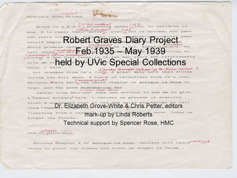 Robert Graves Diary Project Feb.1935 – May 1939 held by UVic Special Collections Dr. Elizabeth Grove-White & Chris Petter, editors mark-up by Linda Ro