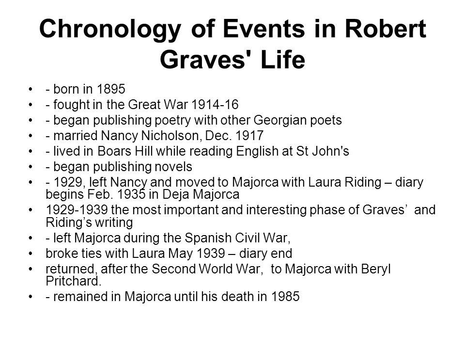 Chronology of Events in Robert Graves' Life - born in 1895 - fought in the Great War 1914-16 - began publishing poetry with other Georgian poets - mar