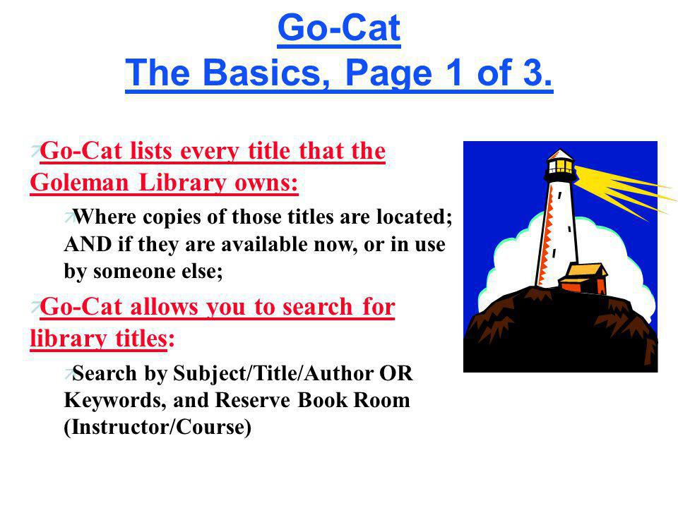 Go-Cat The Basics, Page 1 of 3.