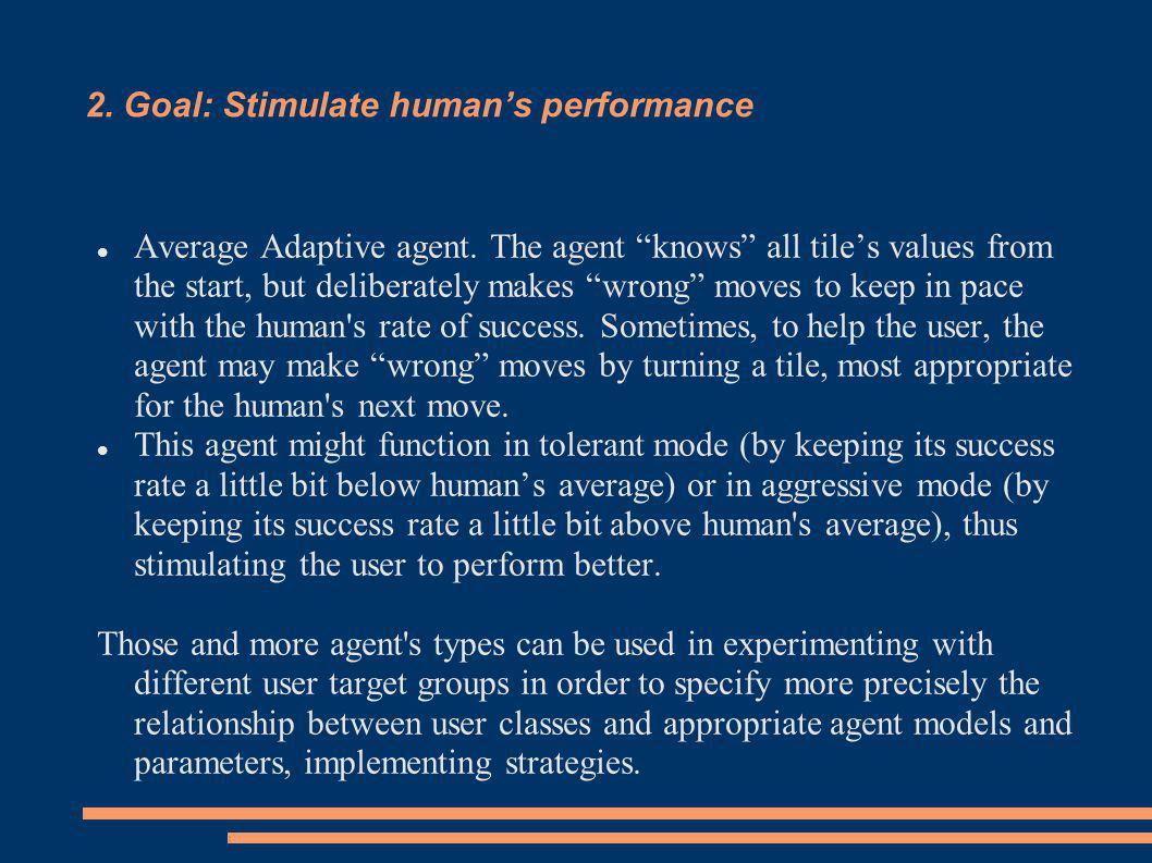 2. Goal: Stimulate human's performance Average Adaptive agent.