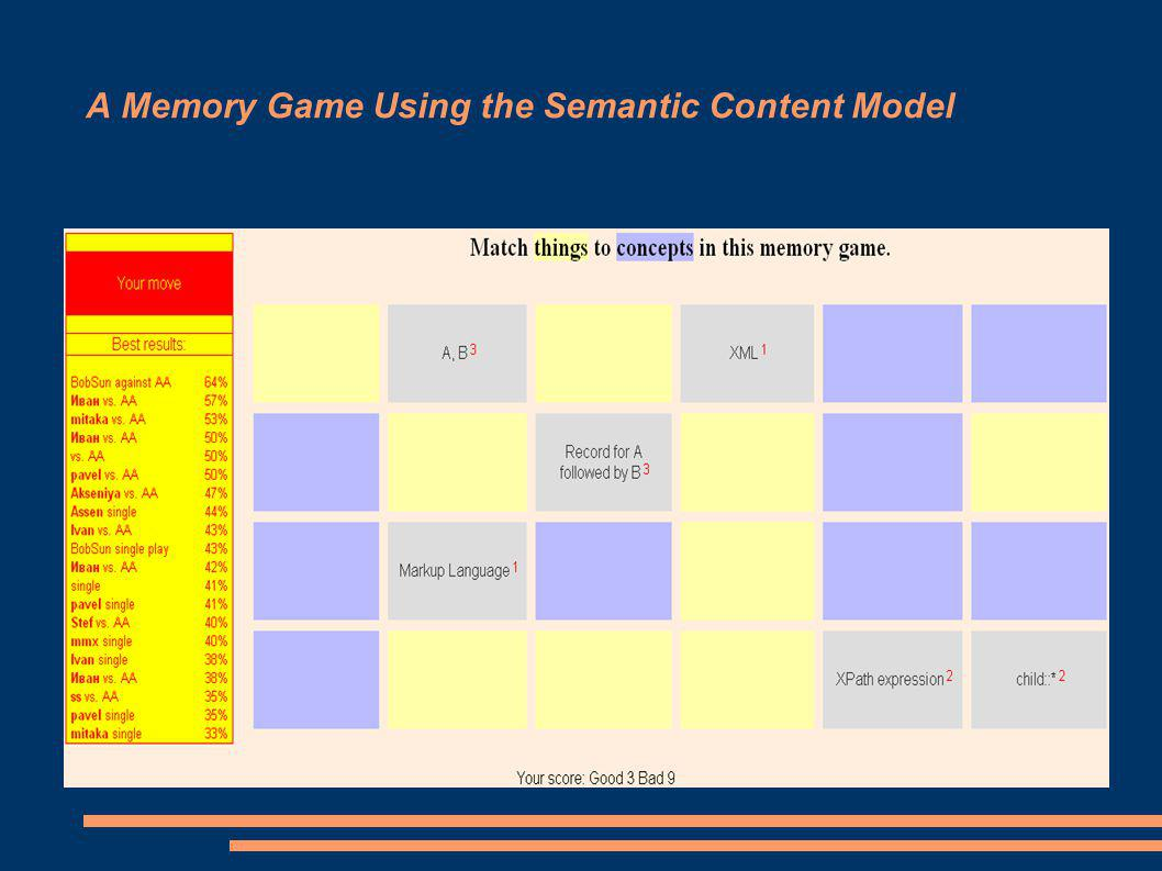 A Memory Game Using the Semantic Content Model