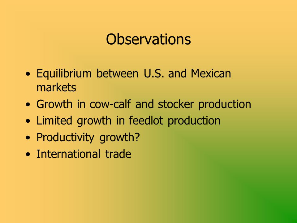 Observations Equilibrium between U.S.