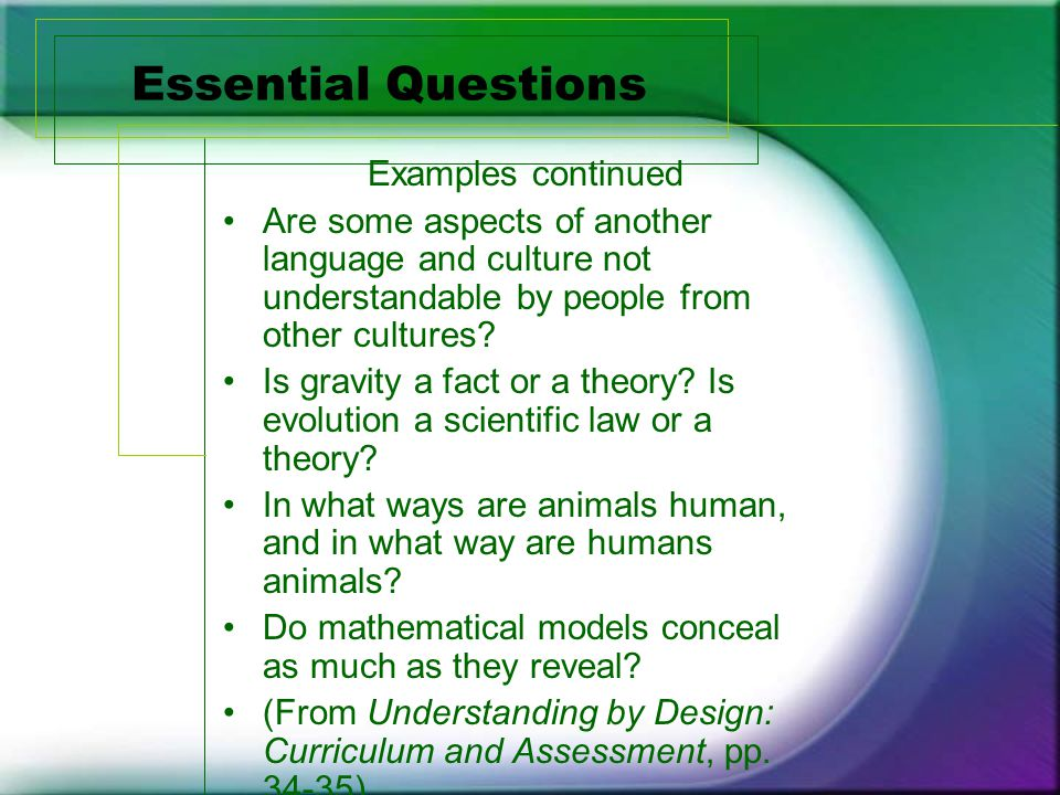 Essential Questions Examples continued Are some aspects of another language and culture not understandable by people from other cultures.