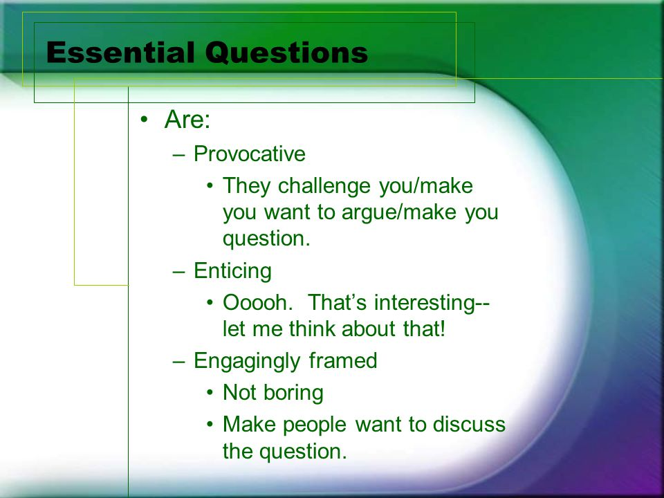 Essential Questions Are: –Provocative They challenge you/make you want to argue/make you question.
