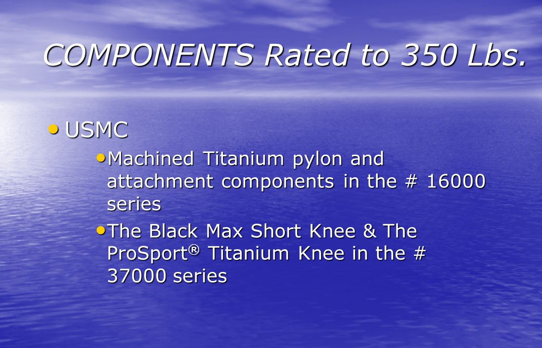 COMPONENTS Rated to 350 Lbs. USMC USMC Machined Titanium pylon and attachment components in the # 16000 series Machined Titanium pylon and attachment