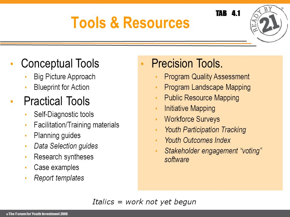 © The Forum for Youth Investment 2008 Tools & Resources Conceptual Tools Big Picture Approach Blueprint for Action Practical Tools Self-Diagnostic tools Facilitation/Training materials Planning guides Data Selection guides Research syntheses Case examples Report templates Precision Tools.