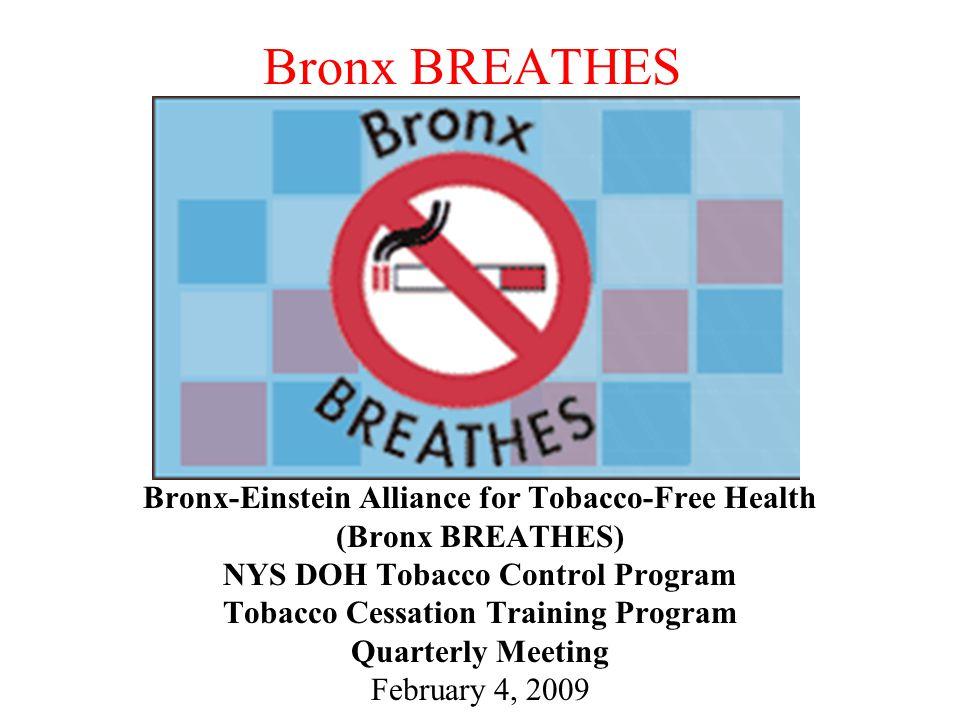 Bronx BREATHES Bronx-Einstein Alliance for Tobacco-Free Health (Bronx BREATHES) NYS DOH Tobacco Control Program Tobacco Cessation Training Program Quarterly Meeting February 4, 2009