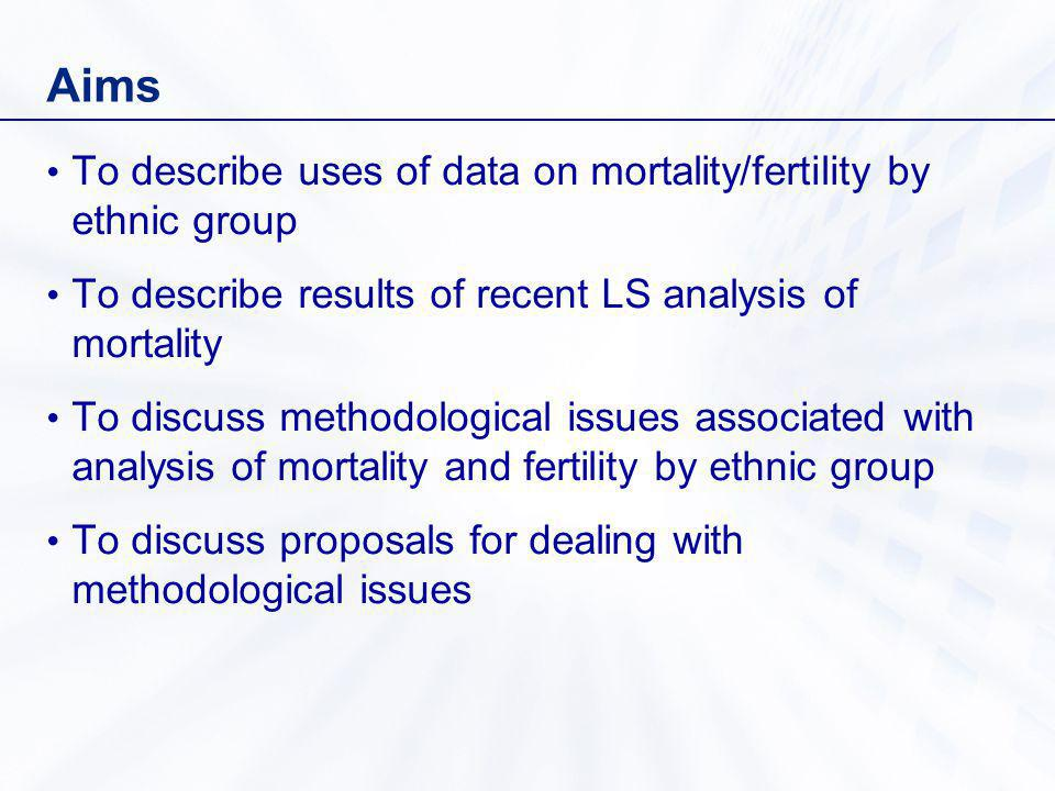 Aims To describe uses of data on mortality/fertility by ethnic group To describe results of recent LS analysis of mortality To discuss methodological issues associated with analysis of mortality and fertility by ethnic group To discuss proposals for dealing with methodological issues