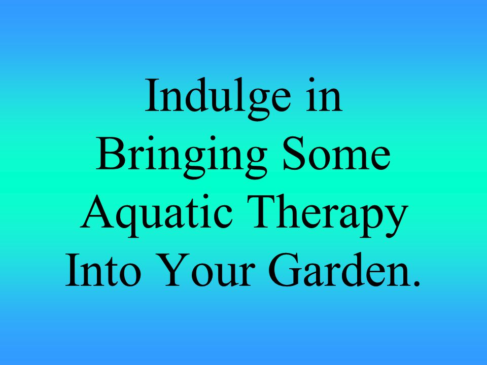 Indulge in Bringing Some Aquatic Therapy Into Your Garden.