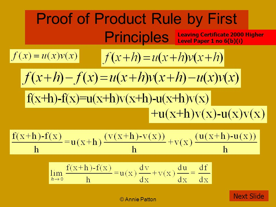 © Annie Patton Proof of Product Rule by First Principles Next Slide Leaving Certificate 2000 Higher Level Paper 1 no 6(b)(i)