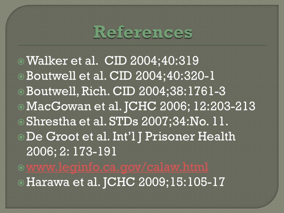  Walker et al.CID 2004;40:319  Boutwell et al. CID 2004;40:320-1  Boutwell, Rich.